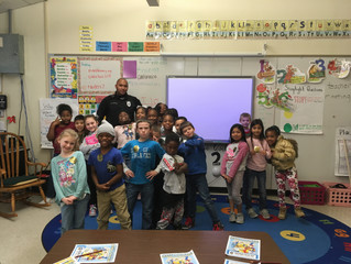Officer Michael Anthony stopped by Vanceboro Farm Life Elementary today to have lunch with Ms. Scmit