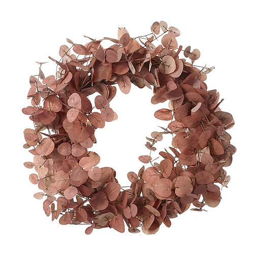 Green and Dusky Pink Foliage Wreath