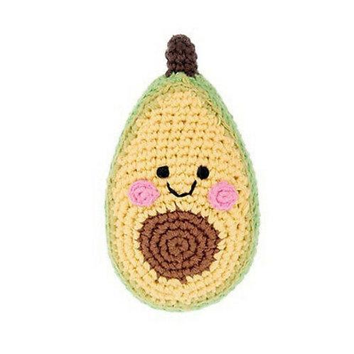 Organic Cotton Avocado Baby Rattle