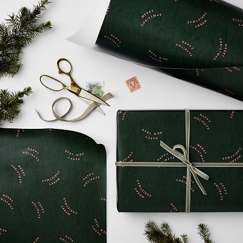 3 x Sheets Luxury Green Christmas Wrap