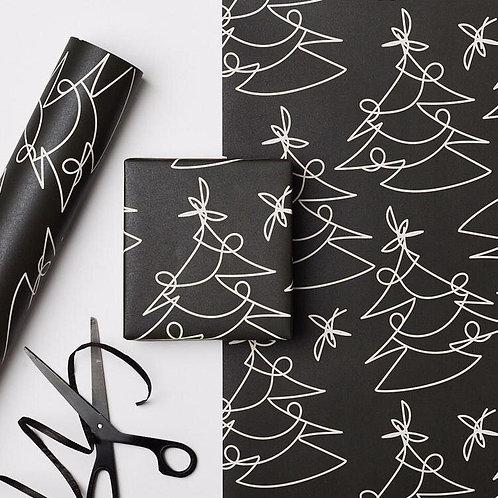 Black Graphic Christmas Wrap | 1 Sheet