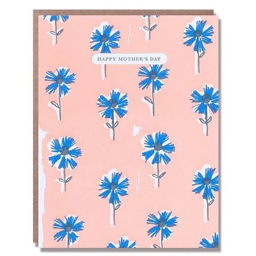 Peach and Blue Floral Happy Mother's Day Card