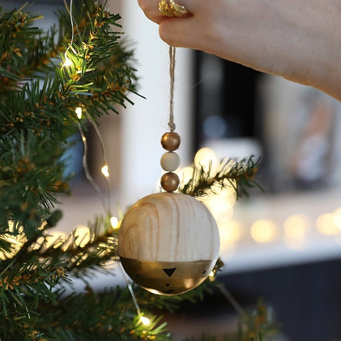 Dipped Wooden Bauble | Gold