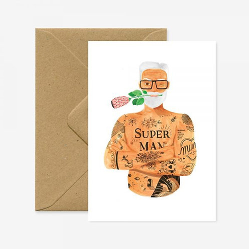 Super Man with Rose Card