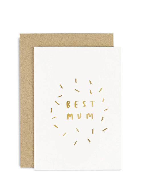 Best Mum Gold Confetti Card