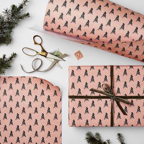 1x Sheet Luxury Pink Christmas Wrap
