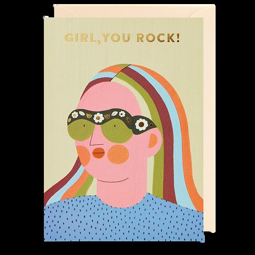 Girl You Rock Face Card