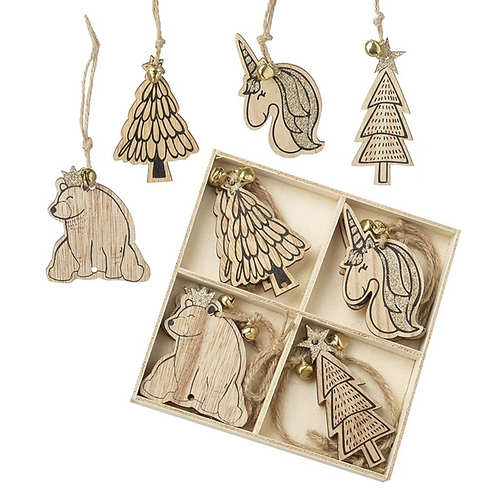 Wooden Unicorn, Bear and Trees Decorations With Bells