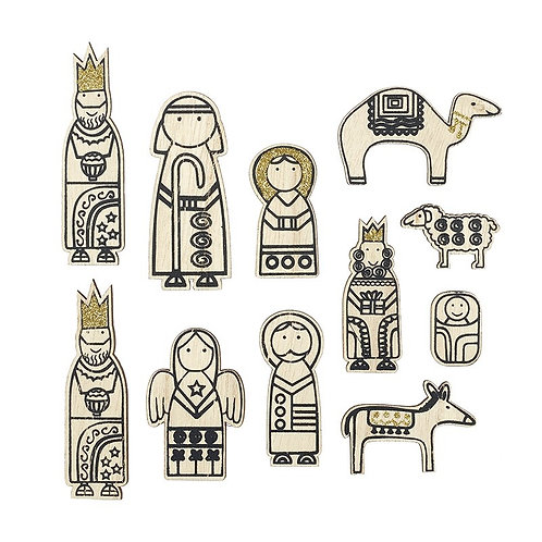 Wooden Nativity Stickers