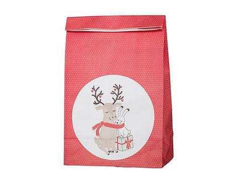 Red Christmas Bag | Deer & Bunny