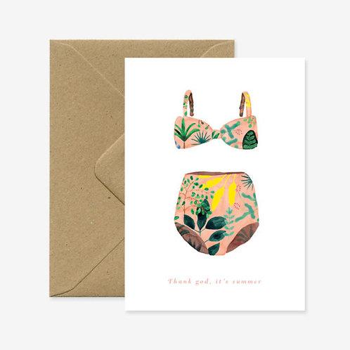 Swimsuit 'Thank God for Summer' Card