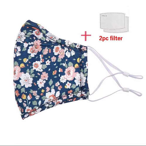 Face Mask With Filter | Navy Floral