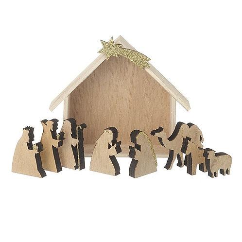 Wooden Nativity Scene   9 Pieces