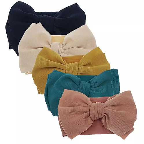 Set of 5 Stretchy Giant Bow Headbands