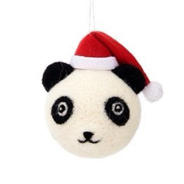 Felt Panda With Santa Hat