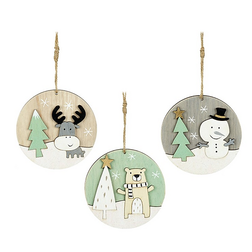 Round Wooden Decorations | Bear