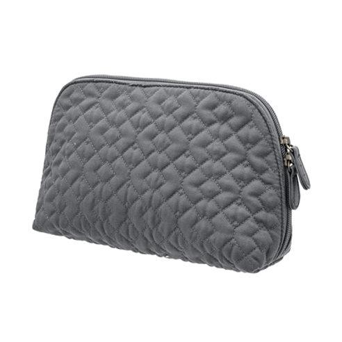 Grey Quilted Make Up Bag