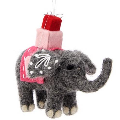 Felt Elephant Hanging Christmas Decoration