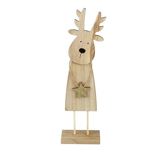 Wooden Reindeer Holding Gold Star