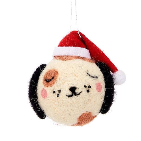 Felt Dog With Santa Hat Decoration