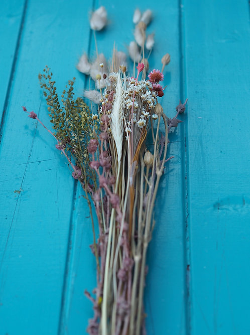 Dried Flower Bunch Natural and Dusky Pink