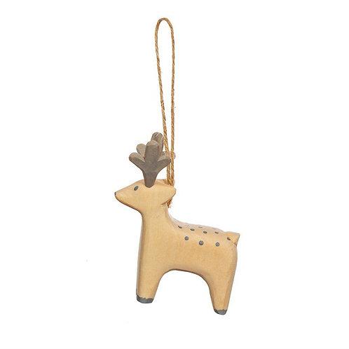 Hand Carved Wooden Reindeer