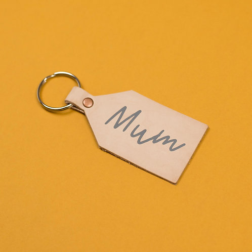Mum Leather Nude Keying With Grey Lettering