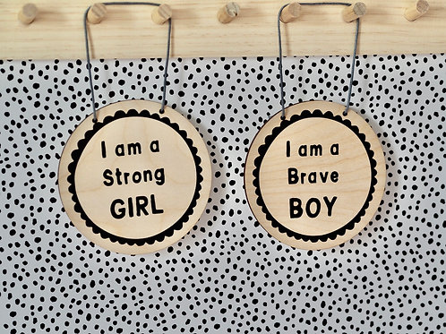 Strong Girl/Brave Boy Hanging Wood Plaque