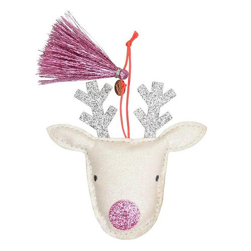 Reindeer Glitter Fabric Tree Decoration
