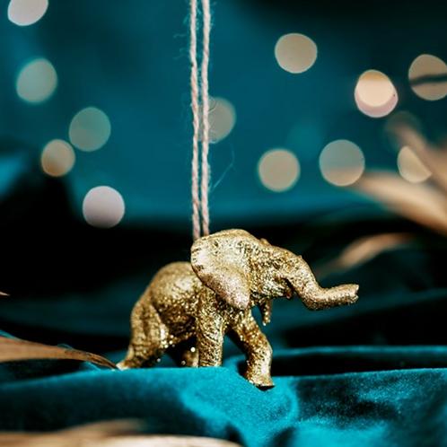 Gold Glitter Elephant Decoration