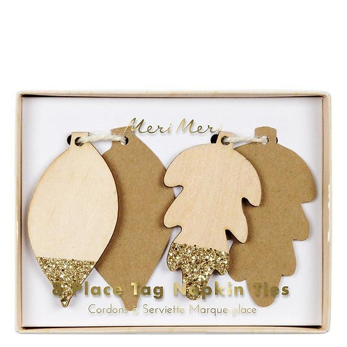 Glitter Leaf Place Tags | 8 Pack