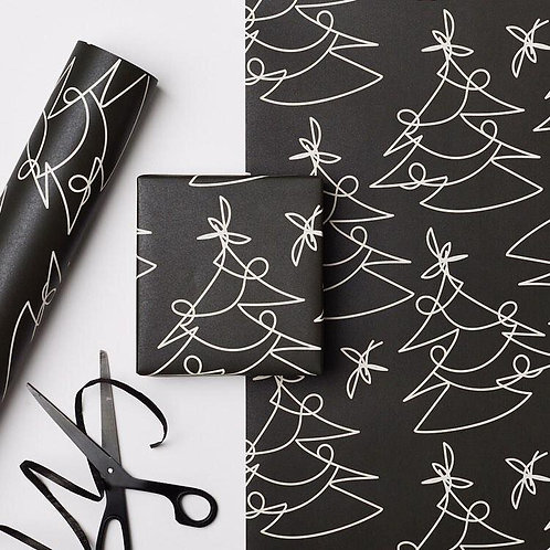 Black Graphic Christmas Wrap | 3 Sheets