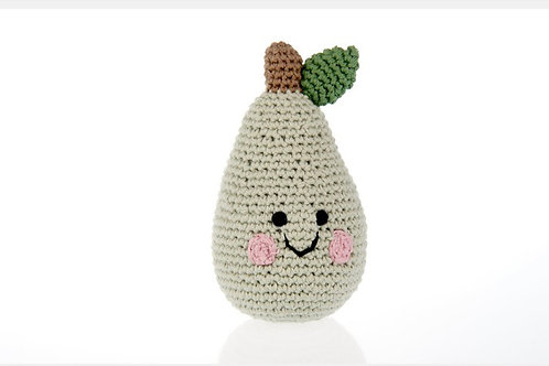 Organic Cotton Pear Baby Rattle