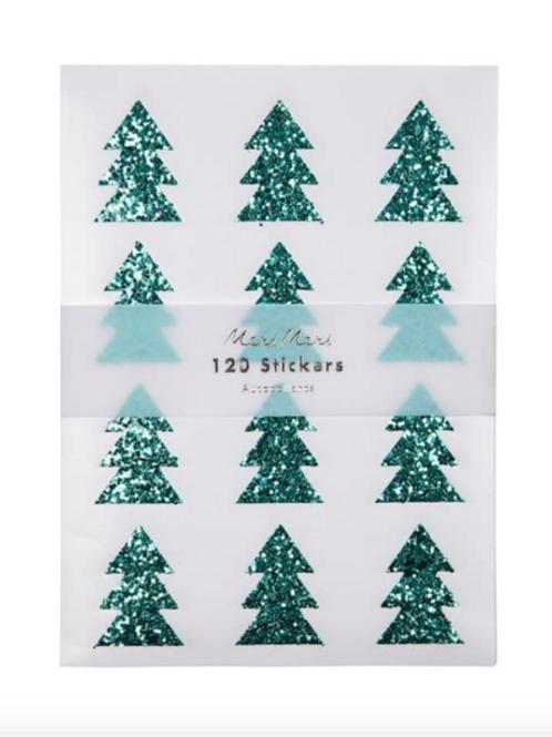 Green Glitter Tree Sticker Sheets