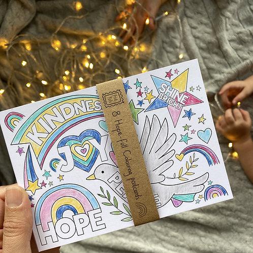 Hope-full Christmas Colouring Postcards   8 Pack