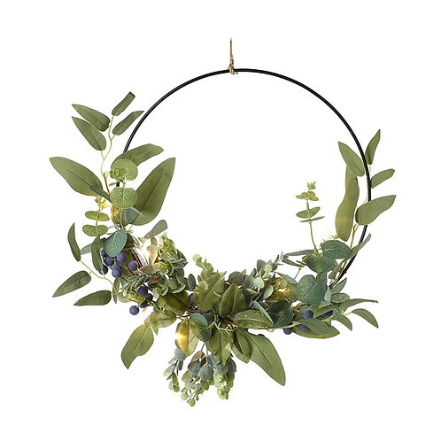 Light Up Green Leaves Metal Wreath l