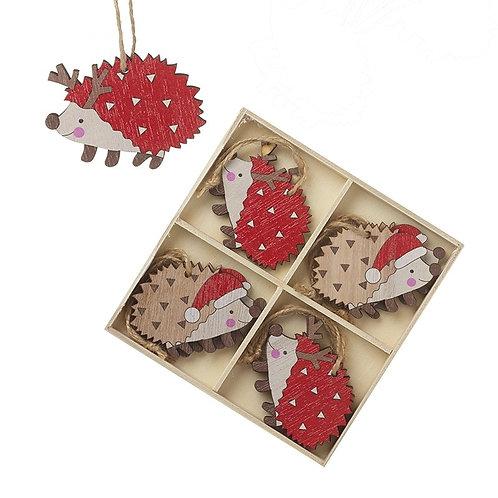 Wooden Hedgehog Tree Decorations