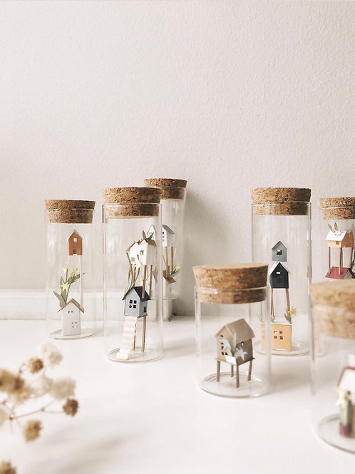 Handmade Papercut Houses in Jar Meduim