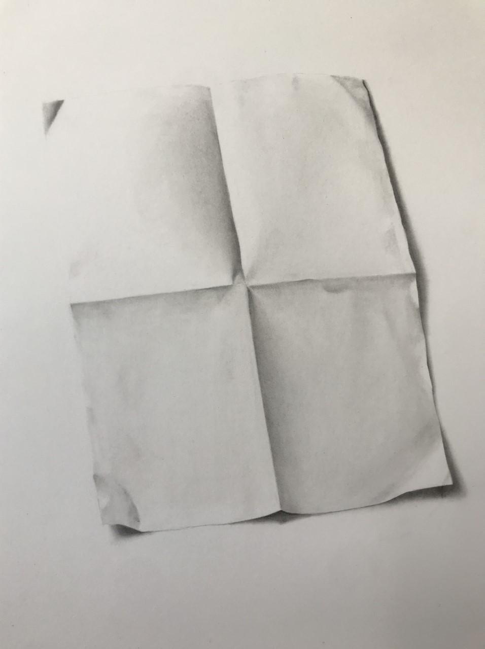 "'Paper, 2019, graphite on paper, 14"" x 10"""