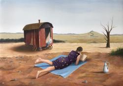 "'Summer Book', 2020, oil on gessoed panel, 7"" x 10"""