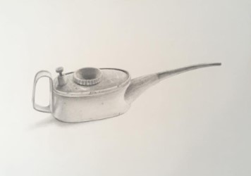 "'Canister', 2017, graphite on paper, 14"" x 10"""