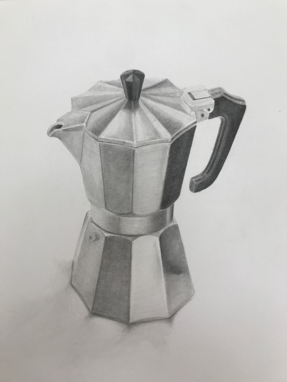 "'Faceted thing', 2020, graphite on paper, 14"" x 10"""