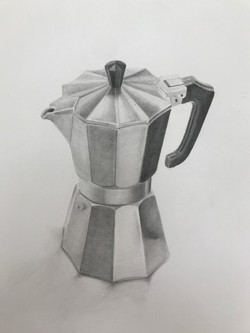 """'Faceted thing', 2020, graphite on paper, 14"""" x 10"""""""