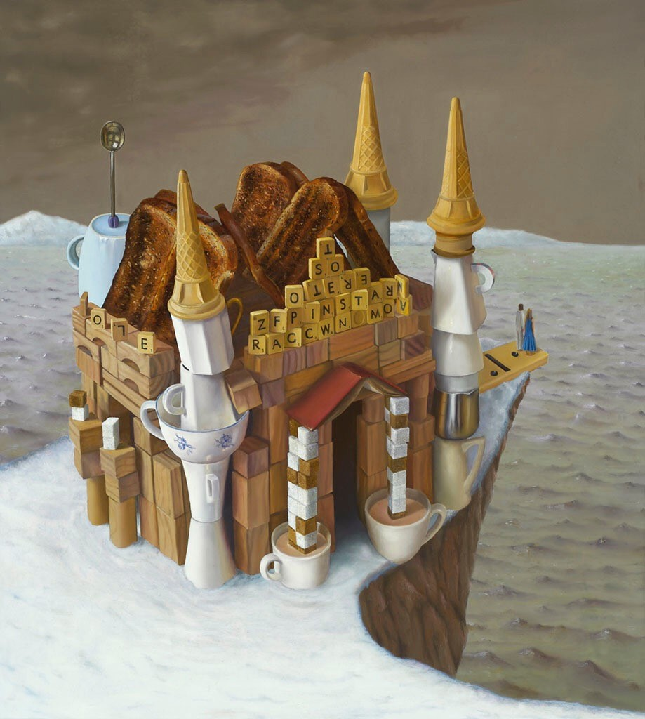 "'A house by the sea', 2012, oil on linen, 40"" x 36"""