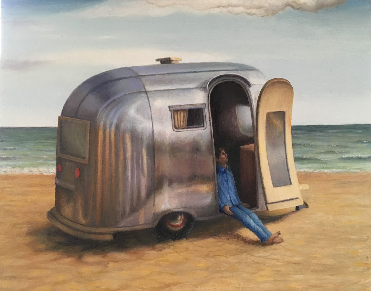 "'Beach boy', 2018, oil on gessoed panel, 5"" x 6"""