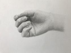 "'Hand', 2019, graphite on paper, 5"" x 7"""