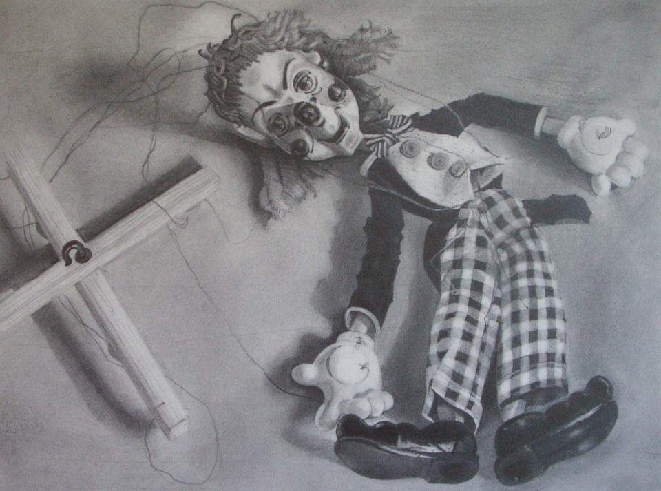 "'Resting puppet', 2008, graphite on paper, 9"" x 12"""