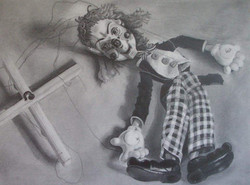 """'Resting puppet', 2008, graphite on paper, 9"""" x 12"""""""