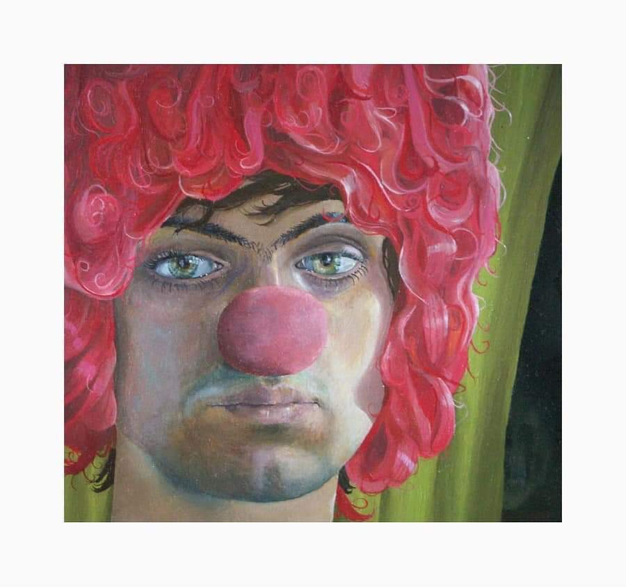 "'Behind the clown', 2007, oil on gessoed panel, 4"" x 4"""