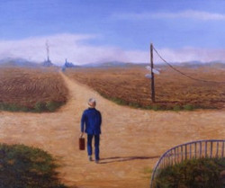"""'I'm going home', 2016, oil on gessoed panel, 5"""" x 6"""""""